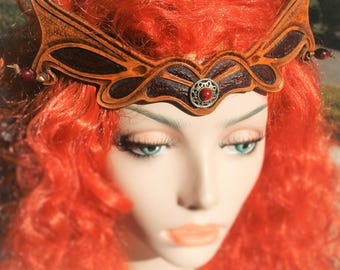 Tiara Crown tiara headpiece elven magical fantasy medieval embossed leather