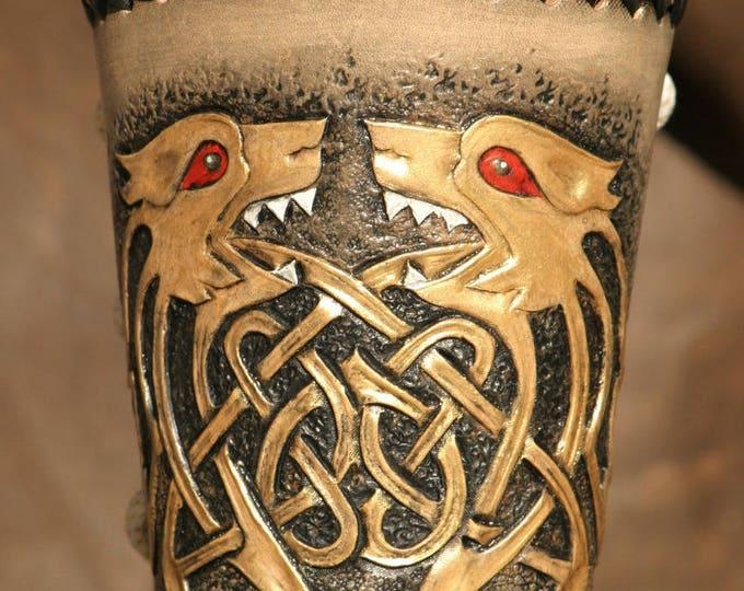 """Archer's bracelet Warrior medieval arm Cannon """"coeur de Lion"""" tooled leather"""