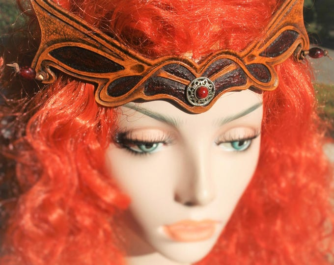 Tiara Crown tiara headpiece elven magical fantasy medieval embossed leather