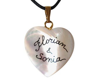 Mother of Pearl Heart personalized with two names necklace