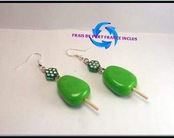 Ice stick, sorbet Mint polymer clay earrings.