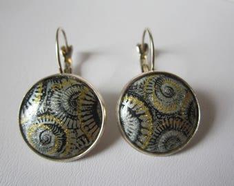 """Fossil"" resin cabochon earrings"
