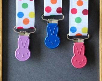 "Clip tie dummy/Suspender ""WABBITS"" ROYAL purple/pink Fuchsia/blue"