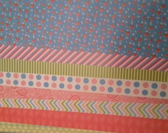 X 8 different patterned paper