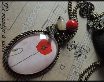 "Necklace / necklace ""tenderness of poppy"" /romantique bronze metal."