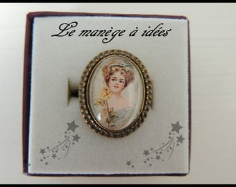 """Adjustable ring / cabochon / collection """"Romantic"""" bronze metal."""
