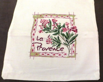 Embroidered Pillow cover: oleanders in Provence