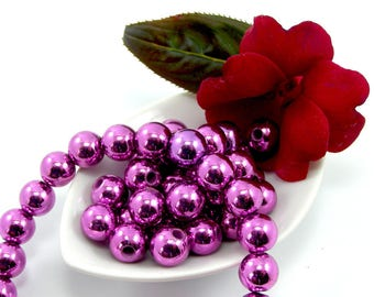 Pearl acrylic CCB 10 mm purple set of 10