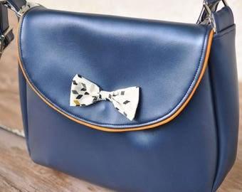 Blue Metallic and Mustard Twist knot bag
