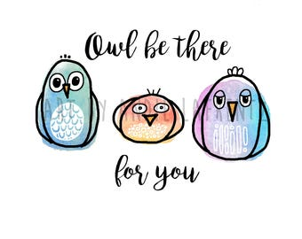Cute watercolor and graphic design owls illustration