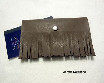 Checkbook leather fringed