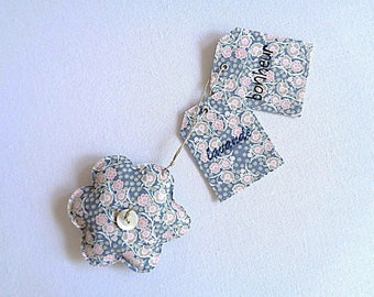 Lavender sachet shaped flower and matching tags