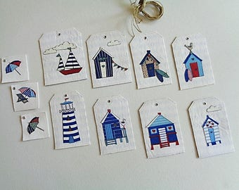 Set of 8 fabric decor seaside, beach, gift guests
