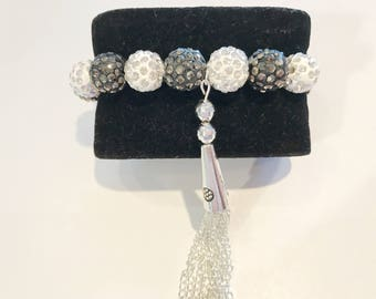 Women bracelet with shamballa beads 2 colors gray and white