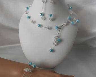 "Wedding set ""CLAIRE"" pieces of turquoise & clear bead"