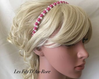 LUNA Pearl headband Pearl fuchsia & white