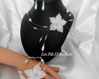 Finery ORLANE 3 piece necklace, bracelet & earrings in turquoise and white