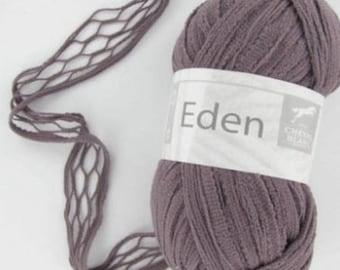 Wool knitting fancy EDEN Blueberry No. 052 white horse