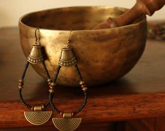 Black ethnic earrings