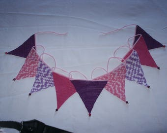 crochet purple and pink girly Bunting