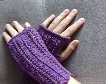 fingerless gloves purple effect cotton lace
