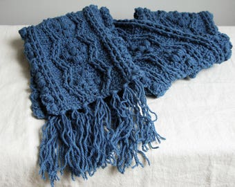Long cobalt blue fringed scarf