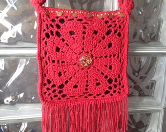 Bohemian red beads and cotton bag