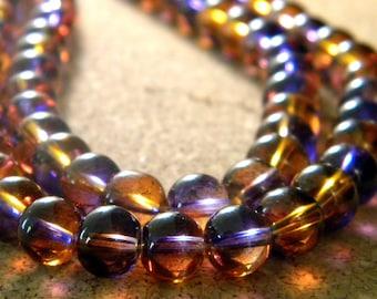 20 glass beads 10 mm - translucent 2 tones - purple and orange - PG301-2