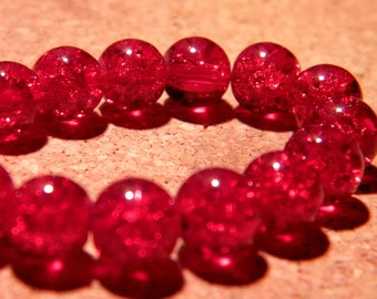 glass Crackle 8 mm - red - PF65 20 beads