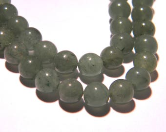 10 aventurine beads green 6 mm - round-green-soft fine gemstone PG194