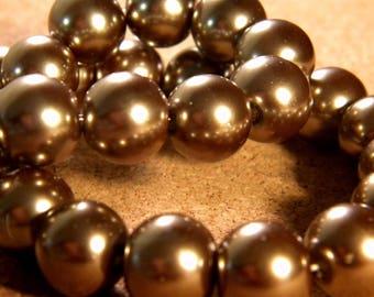 20 beads iridescent mother of Pearl glass 12 mm - grey medium PE195 10
