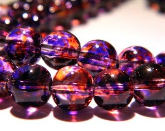 20 beads-glass - 8 mm translucent 2 tones - purple and orange PG143 6