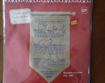 """Traditional """"banner cats"""" embroidery Kit"""