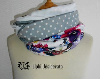 "Scarf snood, infinity scarf, snood""watercolor flower"" tubular scarf woman very original, one side very """