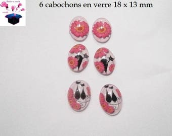 6 cabochons glass 18mm x 13mm margueritte cat theme