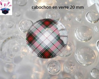 1 cabochon clear 20mm Scottish theme fabric