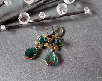 Green glass dangle bronze earrings