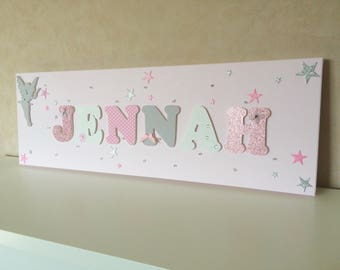 Light fabric with fairy - name wood on canvas - painting kids room - Jennah