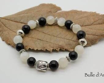 Moonstone bracelet Obsidian & his Buddha