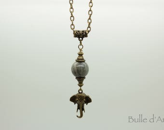 Elephant head necklace * Ganesh * Buddha * Labradorite stone