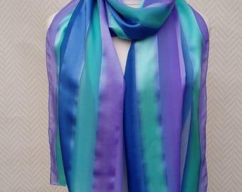 "Scarf, shawl chiffon and satin silk, handpainted ""Happy encounters"" turquoise blue purple"