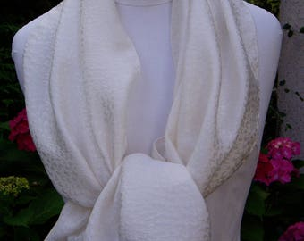 White paperback silk shawl scarf