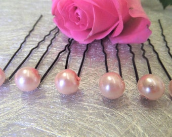 Hair pins, Bridal hair accessory bridal hair pale pink pearl glass beads