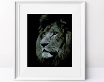 Lion cross stitch pattern Animal cross stitch pdf Black fabric Counted cross stitch pdf pattern Modern cross stitch Monochrome design