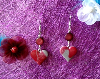 Red polymer clay heart earrings