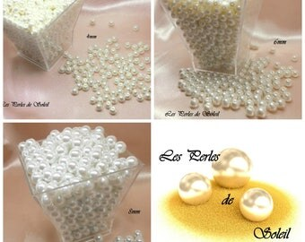 Pearly white glass beads 4mm, 6mm, 8mm, 10mm, 12mm