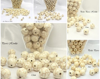 Stone beads natural white howlite featuring 4mm, 6mm, 8mm, 10mm, 12mm.