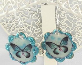 Earrings flower shape pendant, blue, with silver/black hooks Butterfly 925