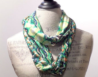 Infinity Scarf Green and Yellow Stripe Chevron Print ITY Knit Stretch
