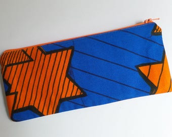Pencil Case African Wax in Blue and Orange, Stars Print, Fully Lined, Orange Zipper